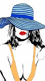 A Beautiful Sensual And Charming Woman With A Blue Hat With Red Lips And An Orange Dress