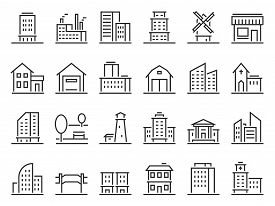 Line Buildings Icons. City Building, Hotel And Store Icon. Warehouse, Industrial Building And Church