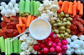 Healthy Vegetable Snacks Close-up. A Serving Tray Of Healthy Assorted Fresh Raw Vegetables
