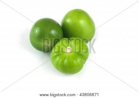 Three Green Tomatillos