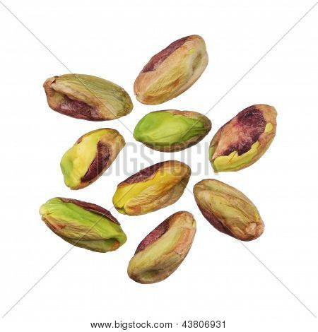Pistachios Nuts Without Shells Isolated On White Background, Close Up