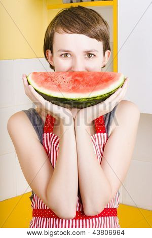 Funny Woman With Juicy Fruit Smile