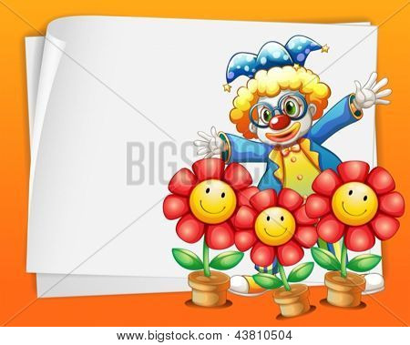 Illustration of an empty paper with a clown and pots of flowers