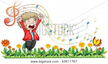 Illustration of a boy singing at the garden on a white background