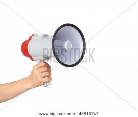 Someone with a Megaphone for proclaiming something isolated on white background