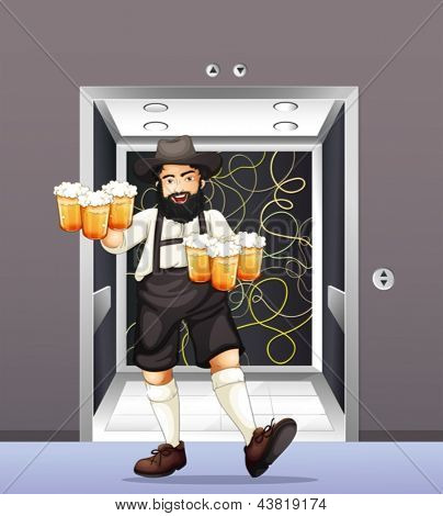 Abbildung eines Mannes mit Krügerl Bier