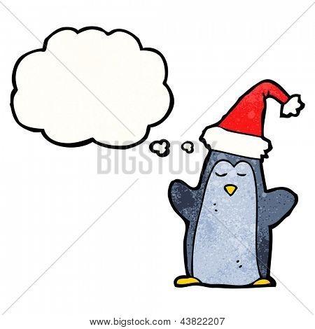 penguin with thought bubble cartoon poster