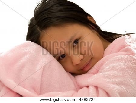 Young Girl In Pink Bathrobe