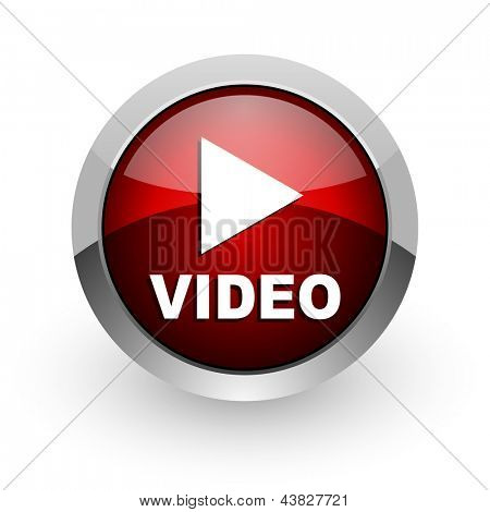 video red circle web glossy icon