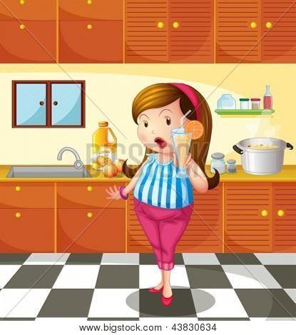 Abbildung einer Dame hält einen Orangensaft in der Küche