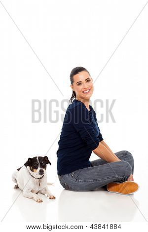 cheerful modern woman sitting with her per dog poster