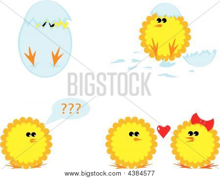 Set Of Cartoon Chickens For Easter