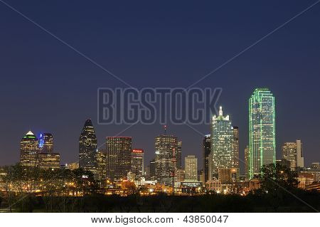 A View of the Skyline Dallas at Night in Texas