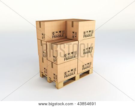 fine image of 3d pallet and classic cardboard boxes