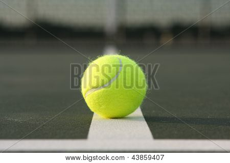 Tennis Ball Court Close on the Court Lines
