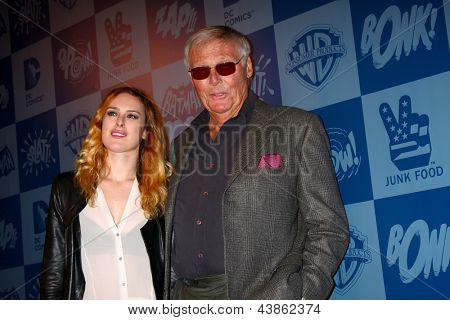 LOS ANGELES - MAR 21:  Rumer Willis, Adam West at the Batman Product Line Launch at the Meltdown Comics on March 21, 2013 in Los Angeles, CA
