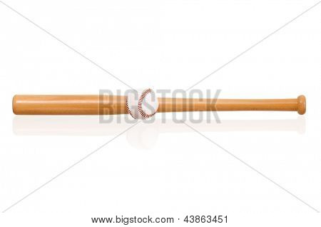 Baseball bat and ball, isolated on white background