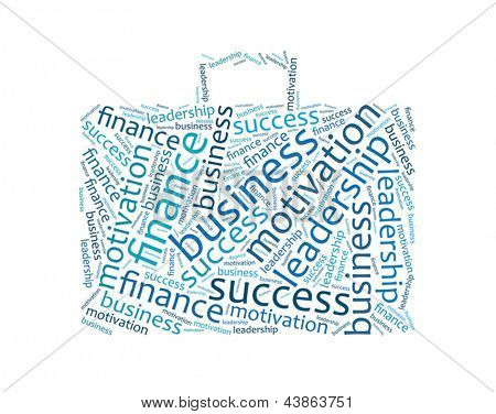 Corporate business cloud of words in the form of  briefcase
