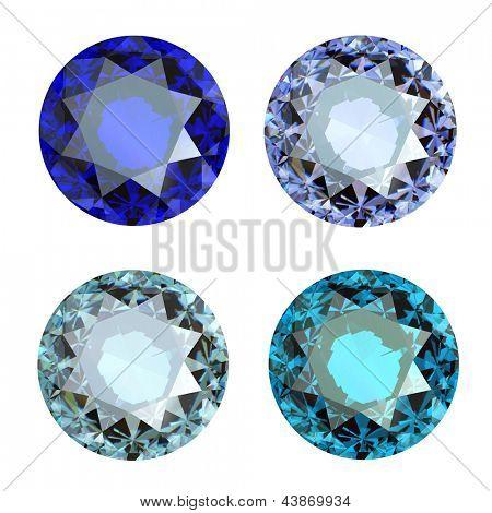 Jewelry gems roung shape on white background.Tanzanite. Sapphire