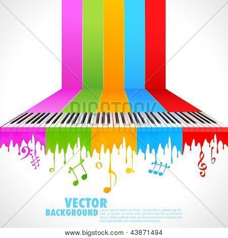 illustration of piano key on rainbow color paint