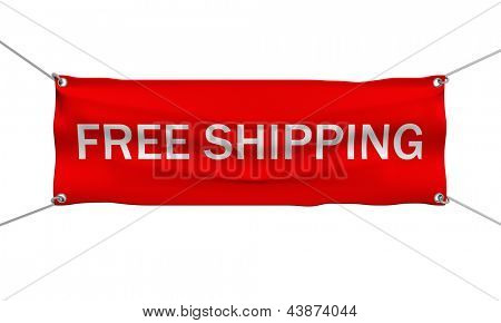 Free shipping banner 3d illustration isolated