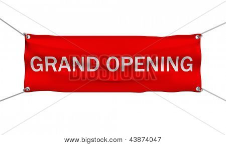 Grand Opening banner 3d illustration isolated