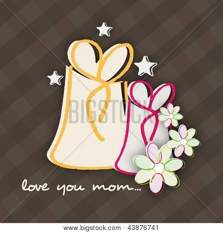 Background, flyer or banner with gift boxes for Happy Mothers Day celebration.