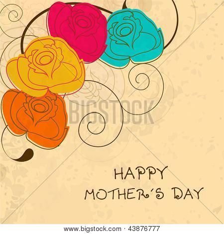 Colorful floral decorated background, banner or flyer for Happy Mothers Day.