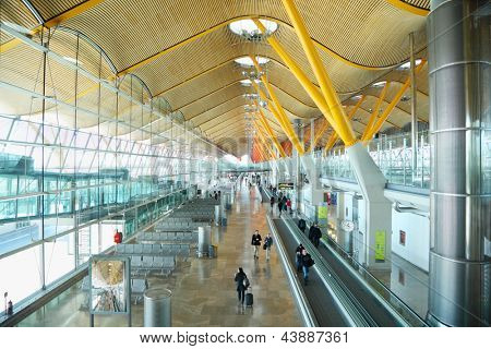 MADRID - MARCH 7: Madrid Barajas Airport building on March 7, 2012 in Madrid, Spain. Madrid Barajas Airport takes 11th busiest in world.