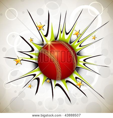Shiny cricket ball on abstract background.
