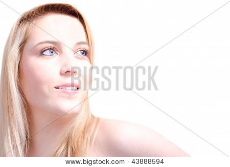 Beautiful Blonde  Woman In White Background With Copy Space