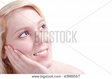 Beautiful Young Woman Admiring Happy With Her Head Relaxed On Her Hand