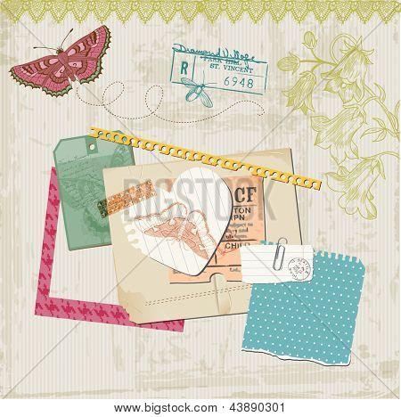 Scrapbook Design Elements - Vintage Butteflies and Flowers - in vector