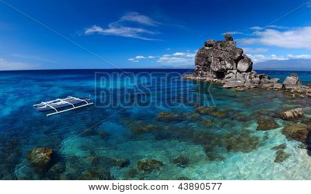 Clear tropical sea and white national boat anchored on coast of Apo island. Philippines poster