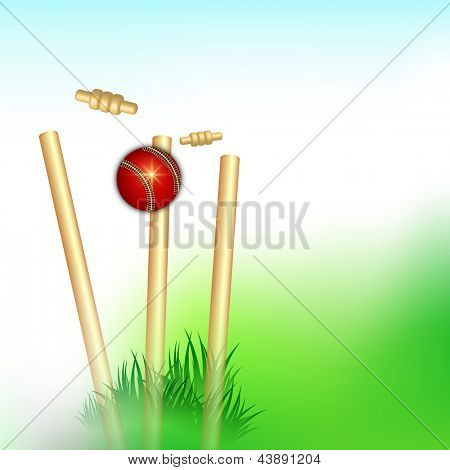 Sports background with wicket stumps and cricket ball. poster