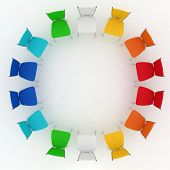 group of chairs costs round on white background poster