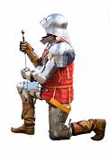 Knight with a sword on a bended knee. Solid white background. poster