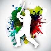 Cricket batsman in playing action on colorful grungy background. poster