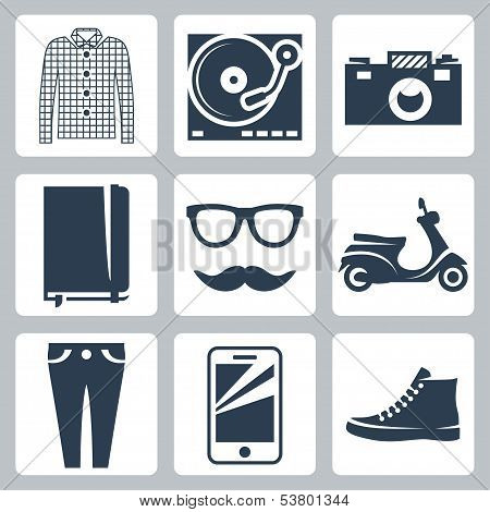 Vector hipster icons set: check shirt record player camera writing pad glasses mustache scooter skinny jeans smartphone sneakers poster