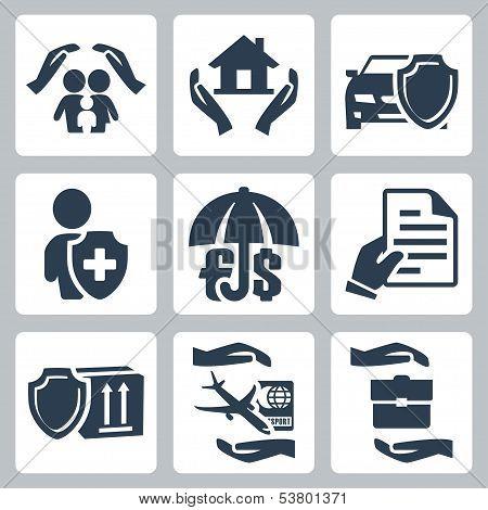 Vector Insurance Icons Set: Family Insurance, Home Insurance,auto Insurance, Life Insurance, Deposit
