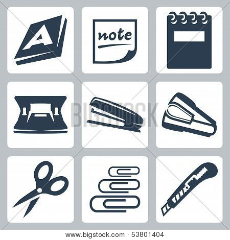 Vector office stationery icons set: ream note writing pad hole punch stapler destapler scissors paper clips utility knife poster