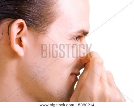 Men Has Thrust A Finger In The Nose