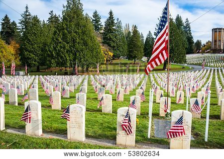 Headstones With American Flags In Arlington Of The West Veterans Cemetery