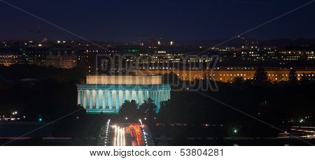 Washington DC - Lincoln Memorial and Arlington Memorial Bridge at night