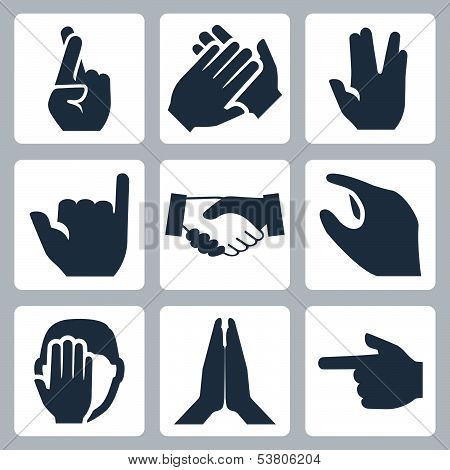 Vector hands icons set: cross fingers, applause, vulcan salute, shaka, handshake, size, facepalm, na
