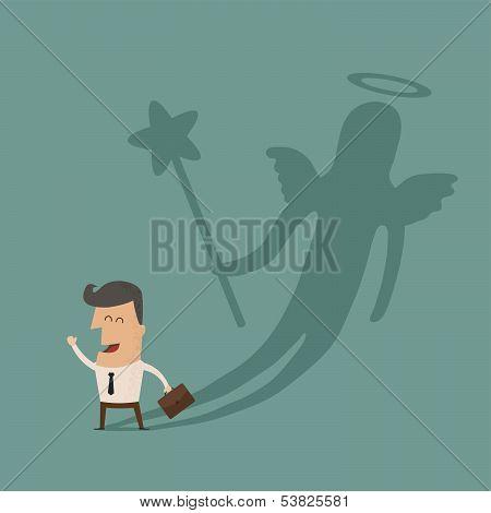 Businessman casting a angel shadow , eps10 vector format