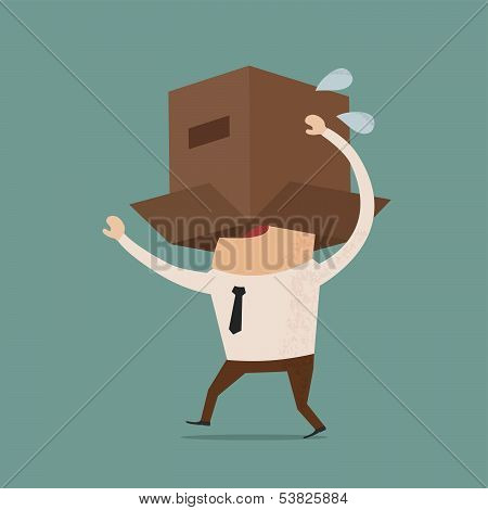 Business body with box , eps10 vector format