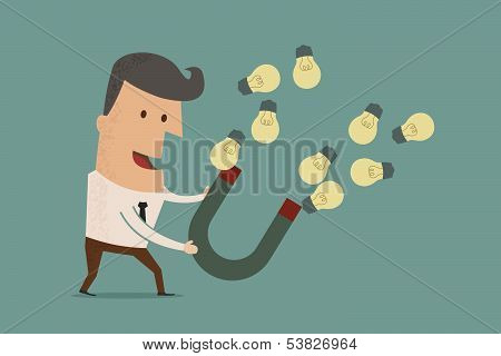 businessman with horseshoe magnet collecting light bulb , eps10 vector format