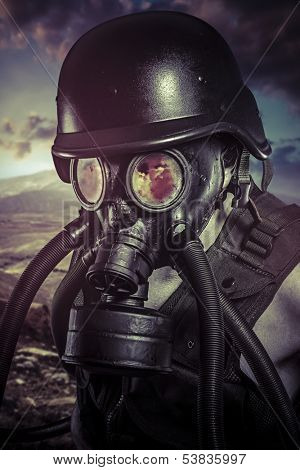 Apocalypse, nuclear disaster, man with gas mask, protection poster