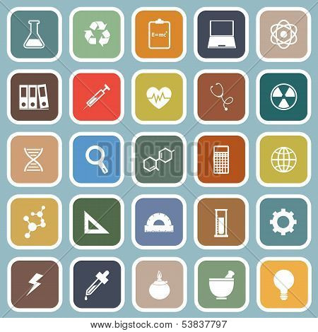 Science Flat Icons On Blue Background